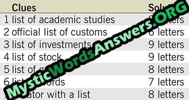 List of stock