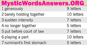 Barely Holding Together 7 Little Words Bonus