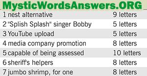 Splish Splash singer Bobby 5 letters - 7 Little Words