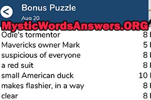 August 20 7 little words bonus answers