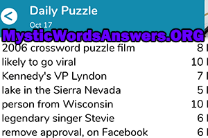 2006 Crossword Puzzle Film 8 Letters 7 Little Words