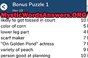 November 19 7 little words bonus answers