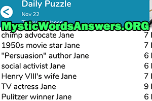 Actress Jane 7 Little Words
